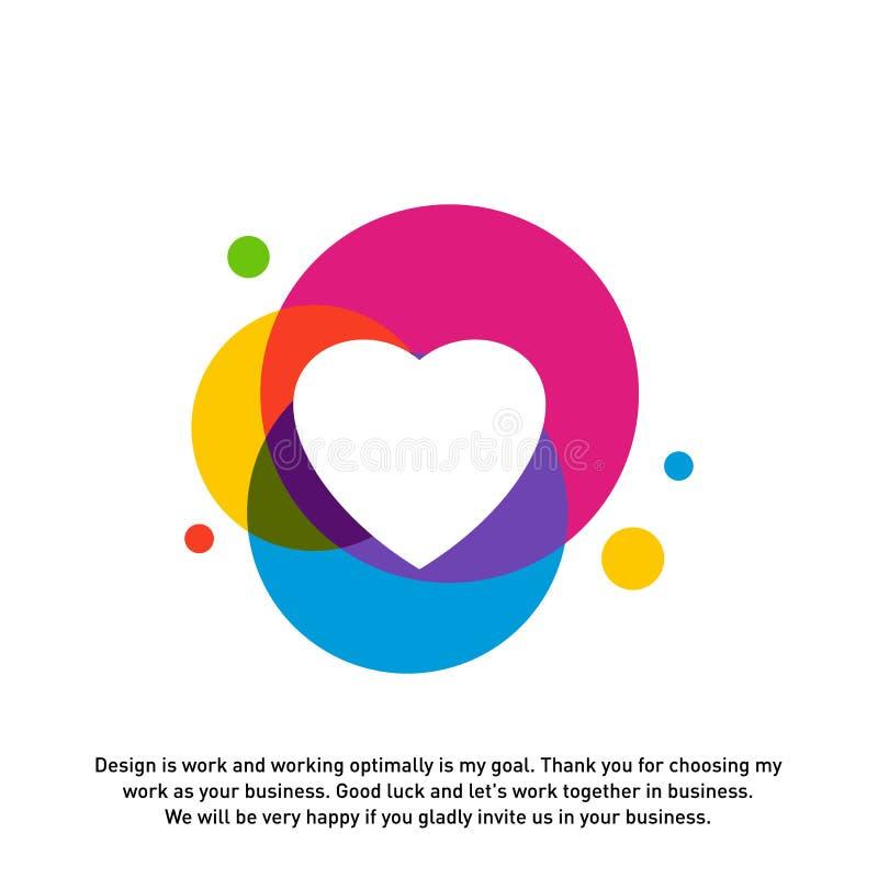 Conceptos creativos del logotipo del corazón del amor, iconos coloridos abstractos, elementos y símbolos, plantilla - vector ilustración del vector