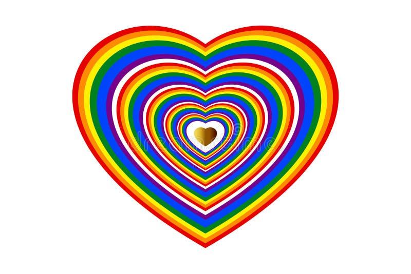 Conceptos de amor, boda, tarjetas del día de San Valentín, LGBTQ El arco iris coloreó forma del corazón y el corazón del oro del  libre illustration