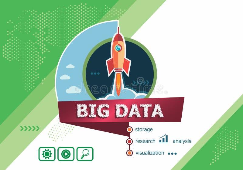 Conceptos de diseño grandes de datos para el análisis de negocio, planeamiento, cónsul stock de ilustración