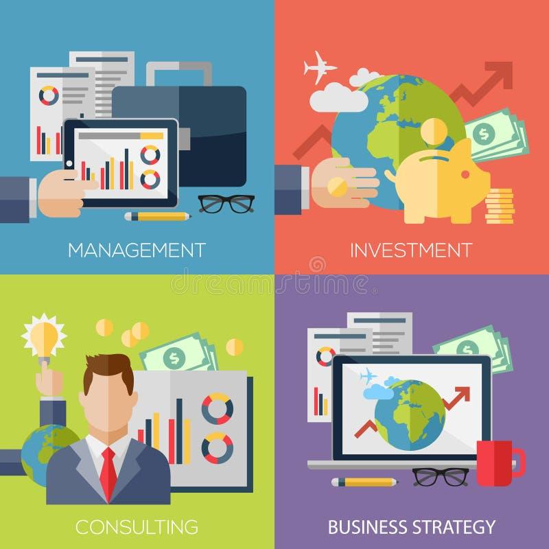 Conceptos de diseño planos para la estrategia empresarial stock de ilustración