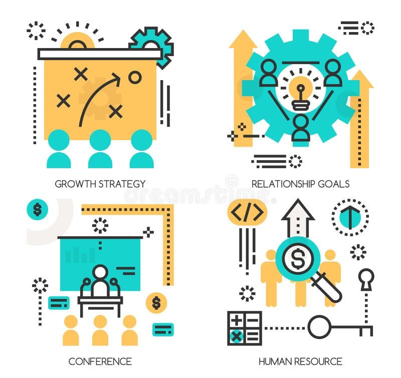 Conceptos de estrategia del crecimiento, metas de la relación ilustración del vector