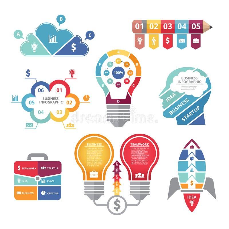 Conceptos de Infographics con el diversos bulbo de las formas, cohete, caso del negocio y perfil de la cabeza stock de ilustración