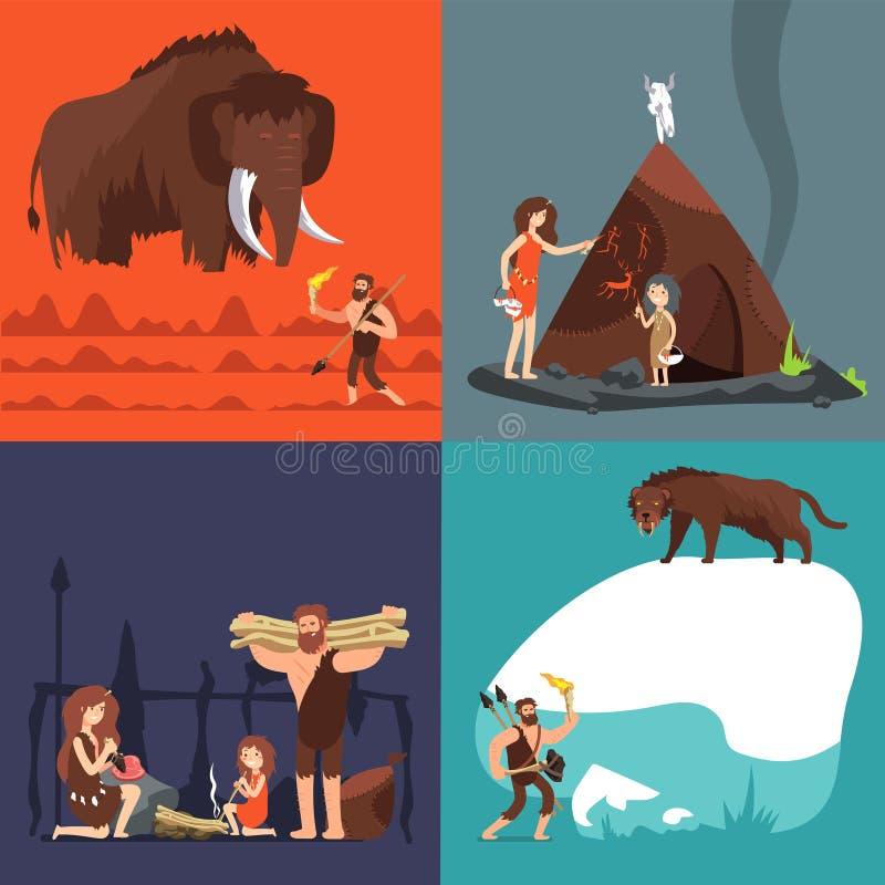 Conceptos de la Edad de Piedra Ser humano y herramientas antiguos prehistóricos Hombre primitivo en sistema de la historieta del  ilustración del vector
