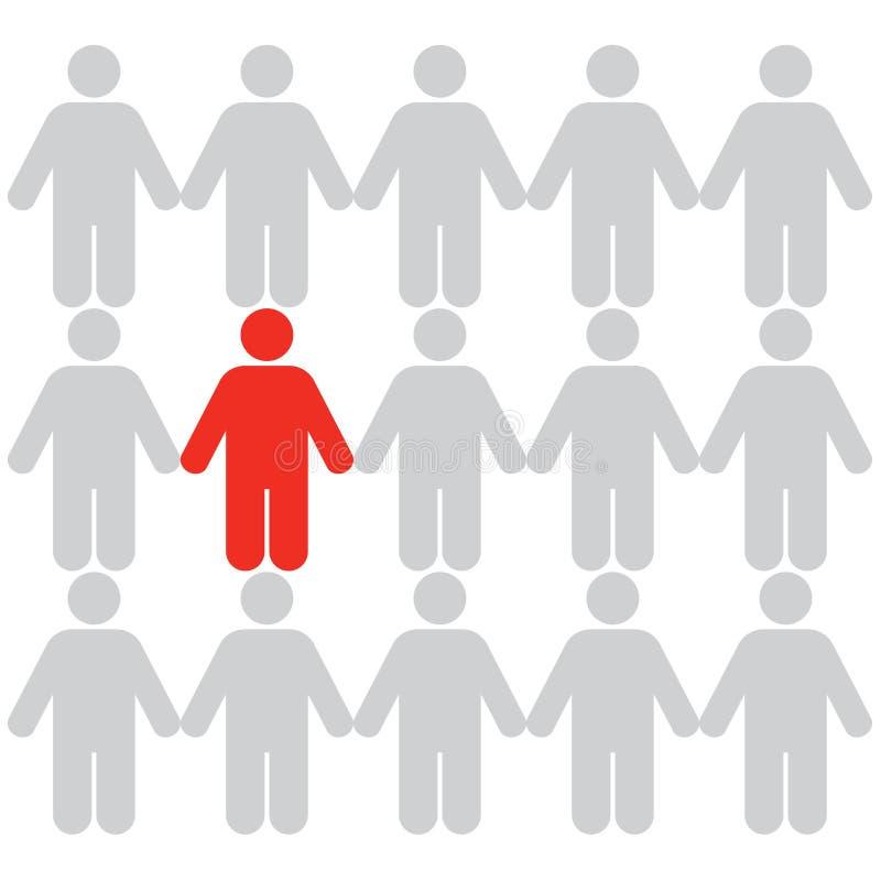 Conceptos del asunto: Destaqúese de la muchedumbre (3) ilustración del vector