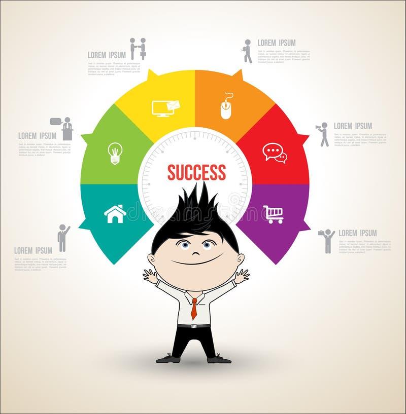 Conceptos del círculo del vector con el hombre de negocios stock de ilustración