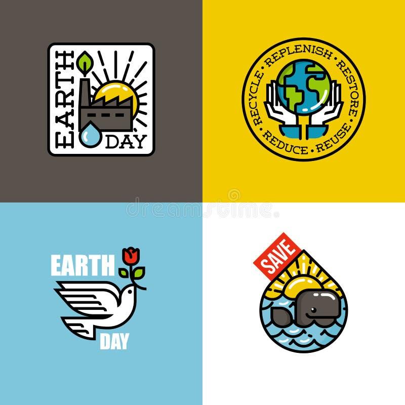 Conceptos del Día de la Tierra fijados stock de ilustración