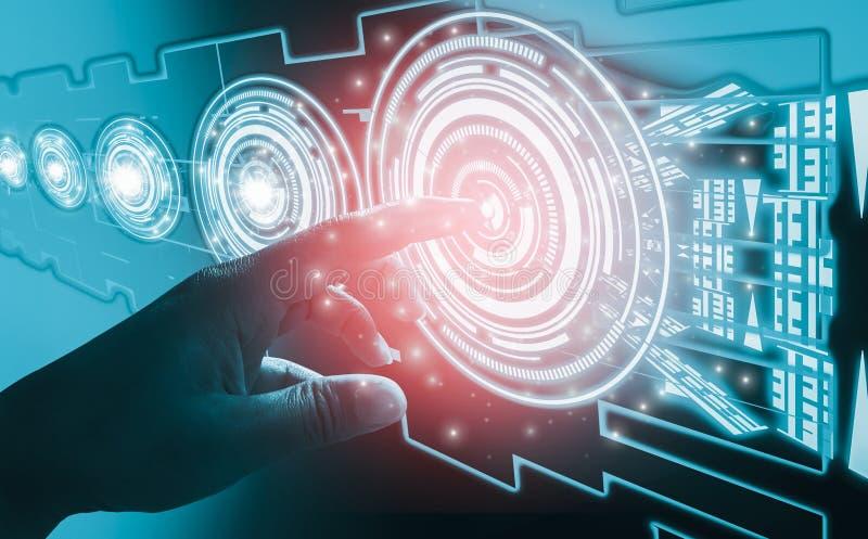 Conceptos del extracto del interfaz del tacto del finger, implicando tecnología y diseño futuristas muy modernos, con la humanida fotos de archivo