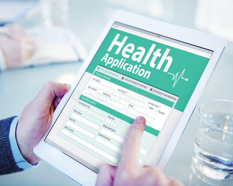 Conceptos del formulario de inscripción del seguro médico de Digitaces foto de archivo