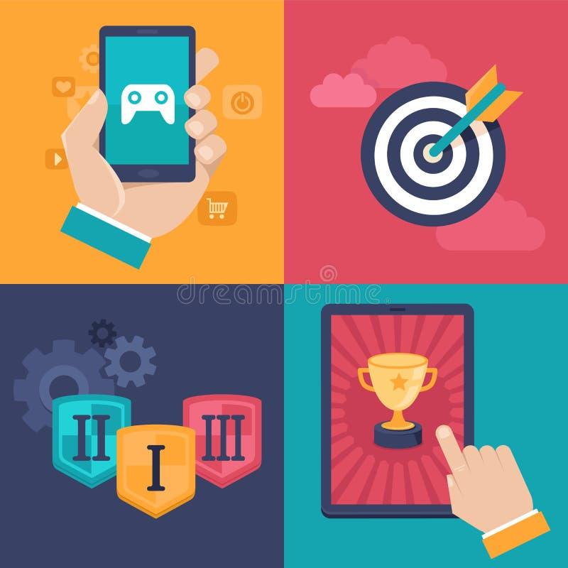 Conceptos del gamification del vector - iconos planos del app stock de ilustración