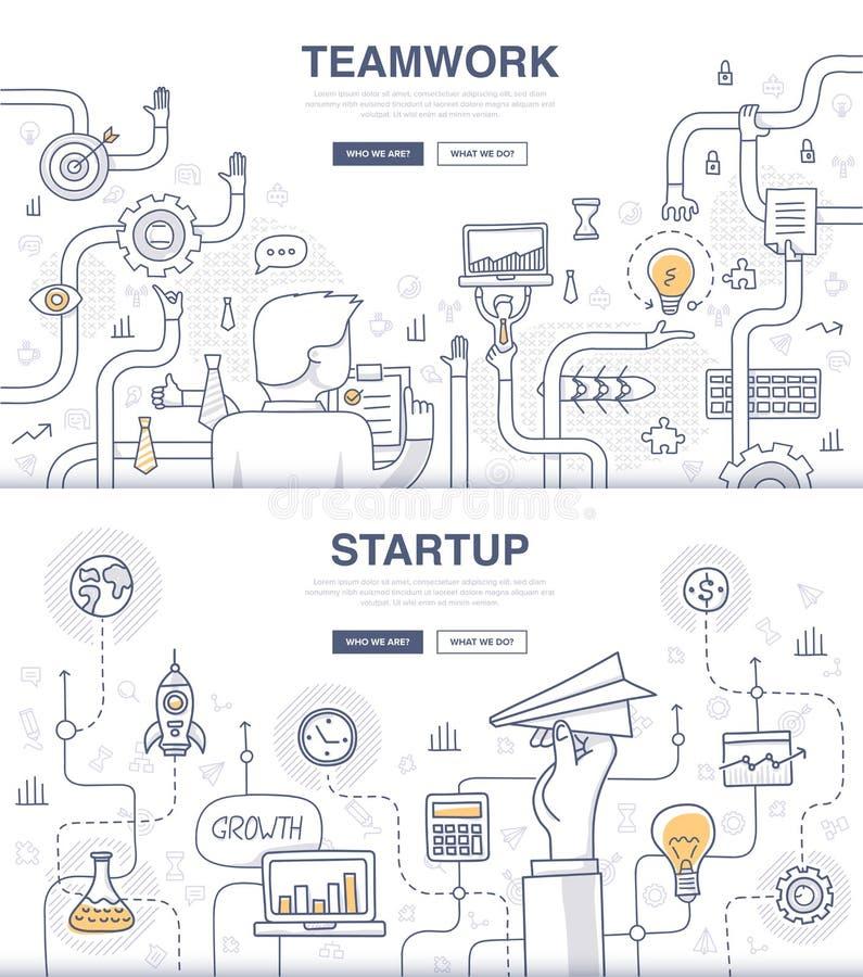 Conceptos del garabato del inicio y del trabajo en equipo libre illustration