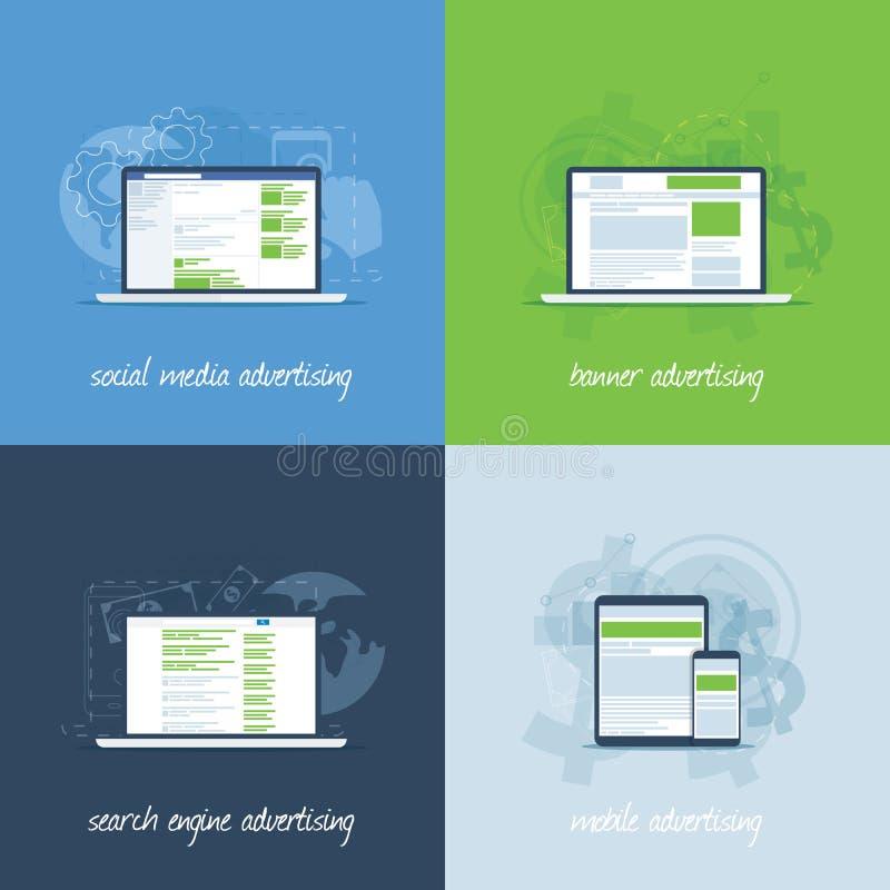 Conceptos del márketing y de la publicidad de Internet en plantilla plana libre illustration