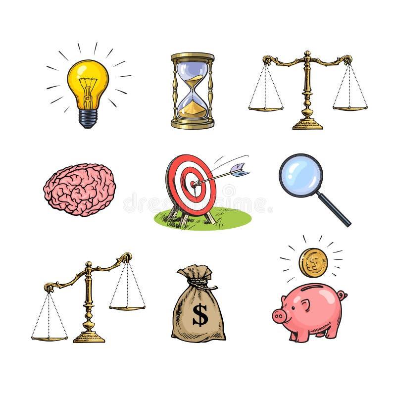 Conceptos del negocio fijados Bombilla, reloj de arena, escalas, cerebro, blanco, lupa, saco de dólares, hucha Mano ilustración del vector