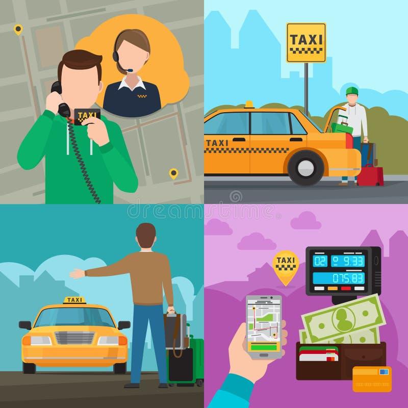 Conceptos del servicio del transporte de la ciudad del taxi ilustración del vector
