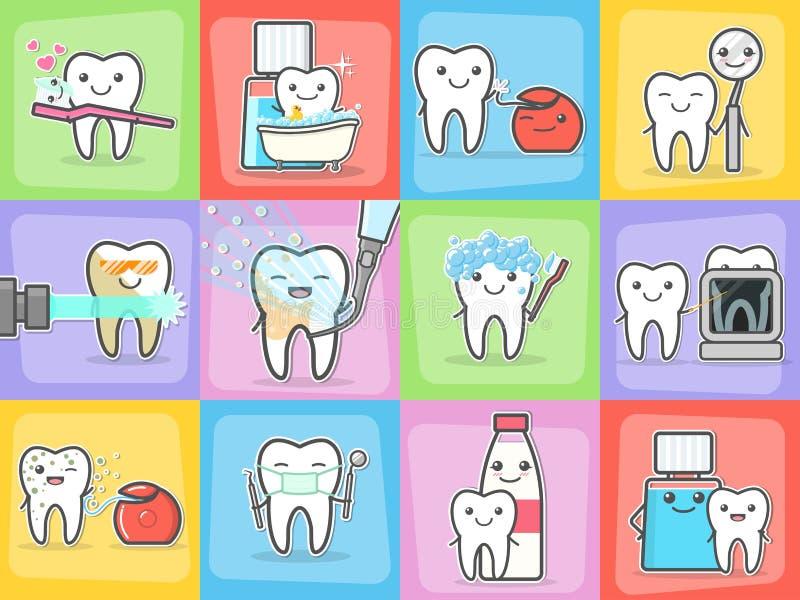 Conceptos del tratamiento y de la higiene del cuidado de los dientes fijados ilustración del vector