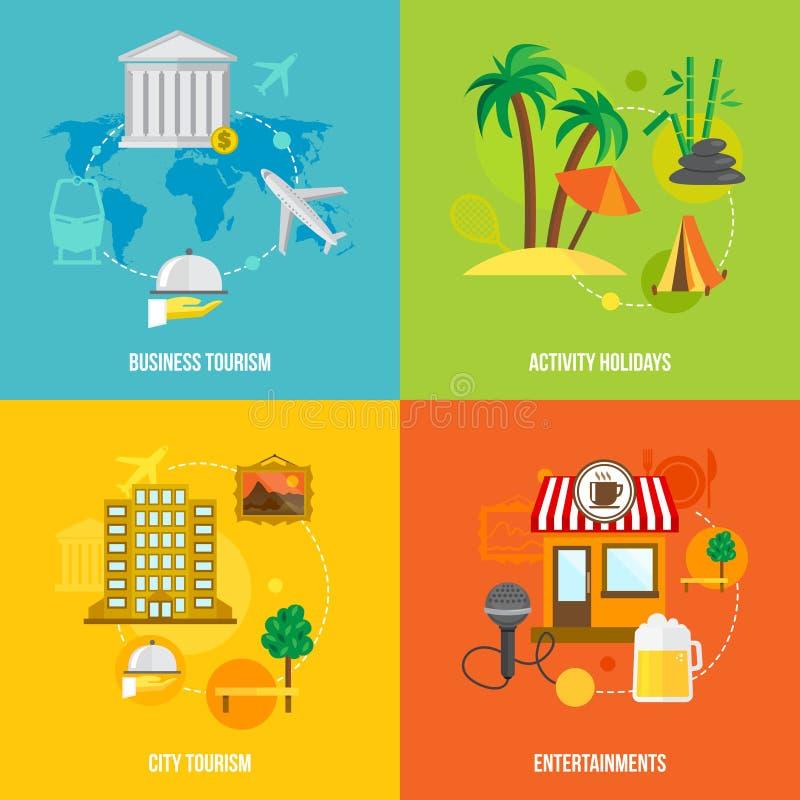 Conceptos del turismo del edificio planos stock de ilustración