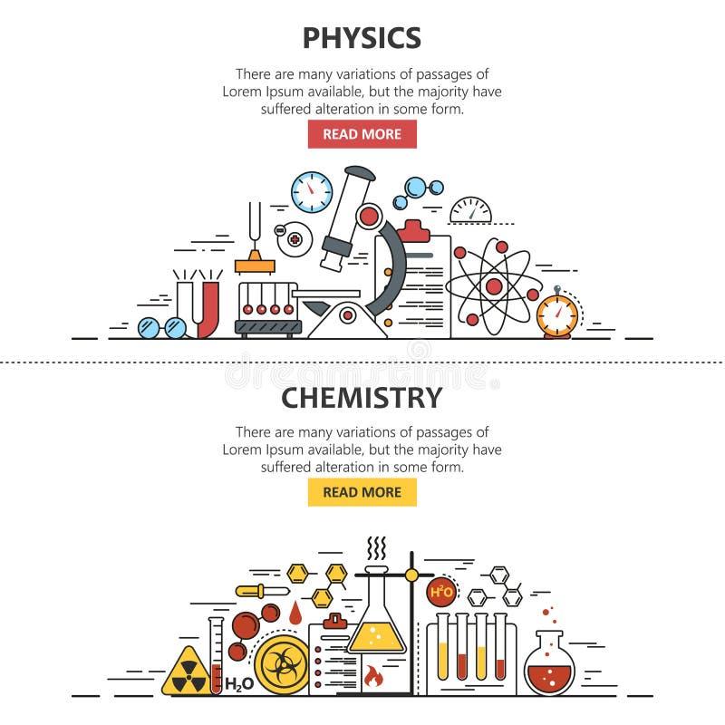 Conceptos del vector de la bandera de la ciencia en la línea estilo La química y la física diseñan los elementos, símbolos, icono ilustración del vector