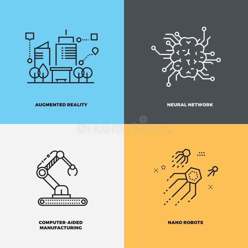 Conceptos del vector de la neurología de la inteligencia del conocimiento de la educación stock de ilustración