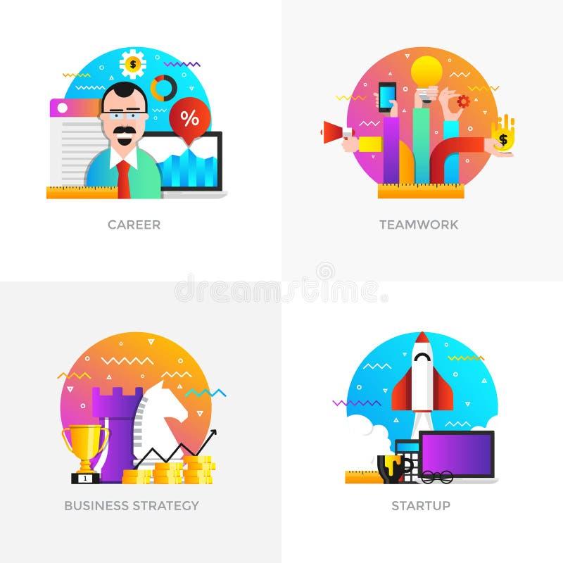 Conceptos diseño planos - carrera, trabajo en equipo, estrategia empresarial y stock de ilustración