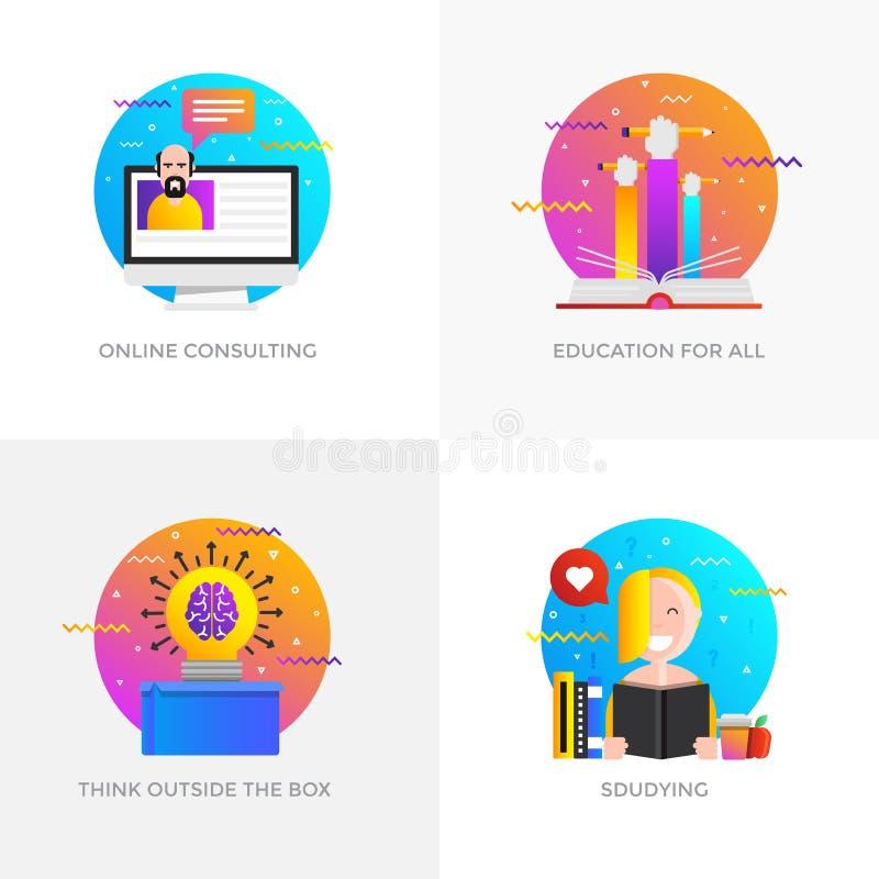 Conceptos diseño planos - en línea consultando, educación para todos, T stock de ilustración