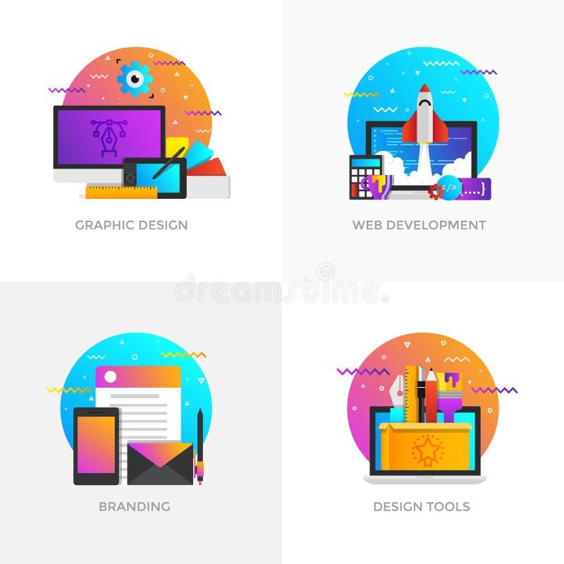Conceptos diseño planos - diseño gráfico, desarrollo web, Brandi stock de ilustración