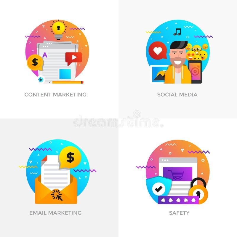 Conceptos diseño planos - márketing contento, medio social, correo electrónico ilustración del vector