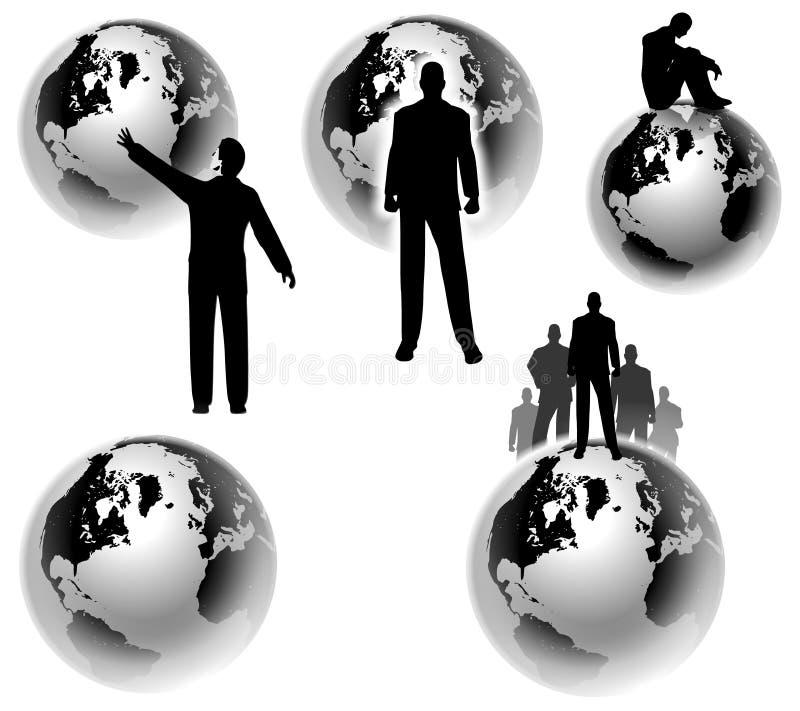 Conceptos globales de la tierra de Businesman ilustración del vector