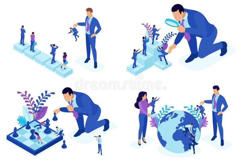 Conceptos isométricos de selección del empleado, desarrollo de carrera, promoción Para la página web y el diseño de la aplicación ilustración del vector