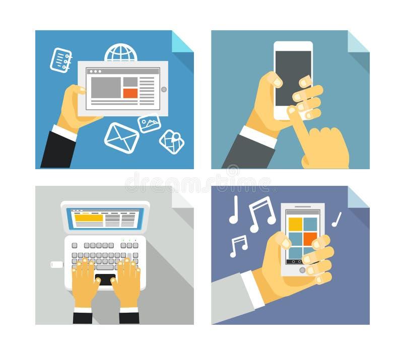 Conceptos modernos de la tecnología stock de ilustración