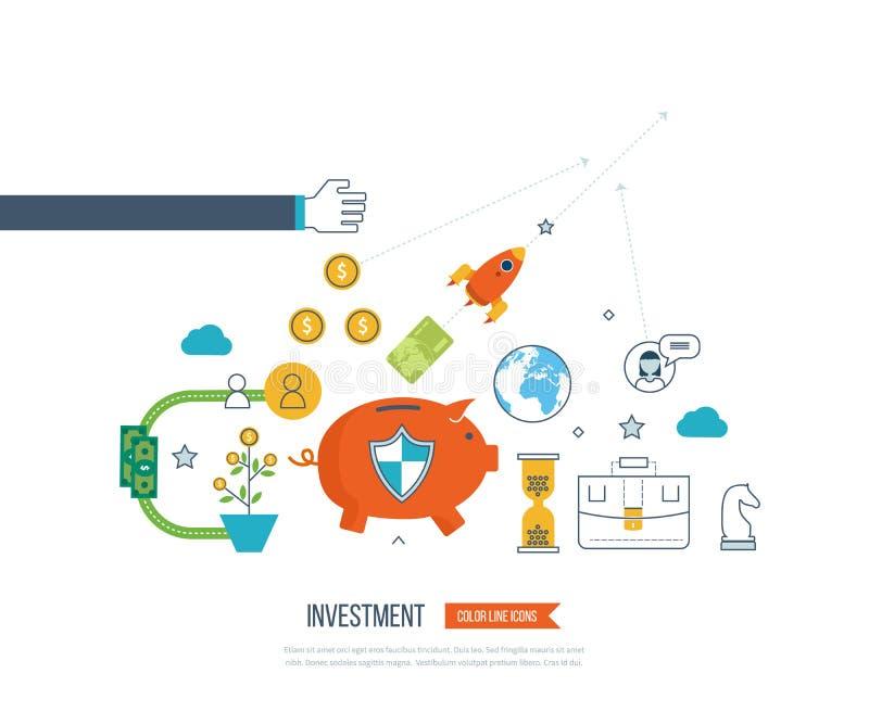 Conceptos para el análisis de negocio y el planeamiento, estrategia financiera Protección del negocio stock de ilustración