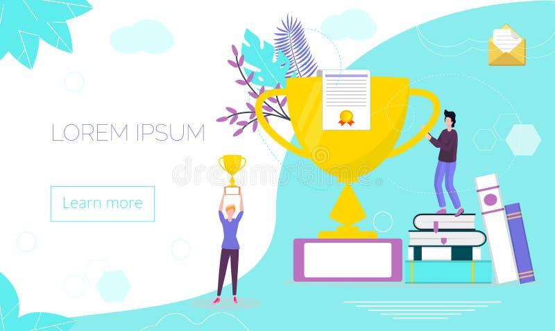 Conceptos para el ganador, diploma, cursos de idiomas stock de ilustración