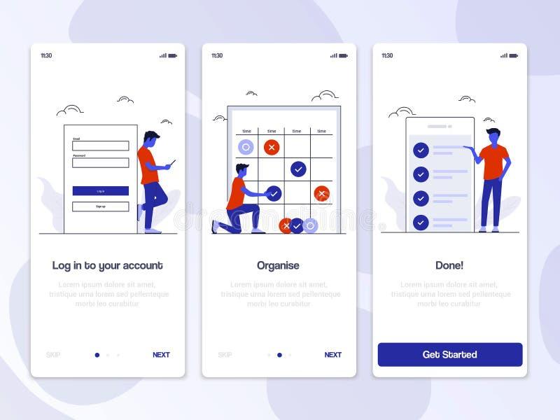 Conceptos planos 5 de Oneboarding del diseño ilustración del vector