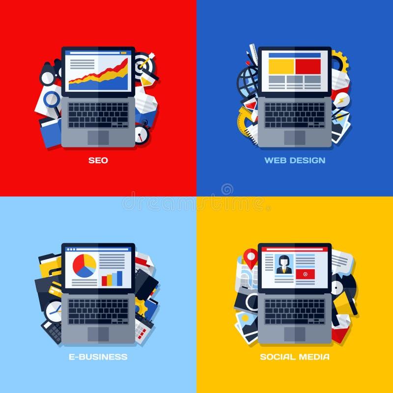 Conceptos planos de SEO, diseño web, comercio electrónico, medio social del vector ilustración del vector
