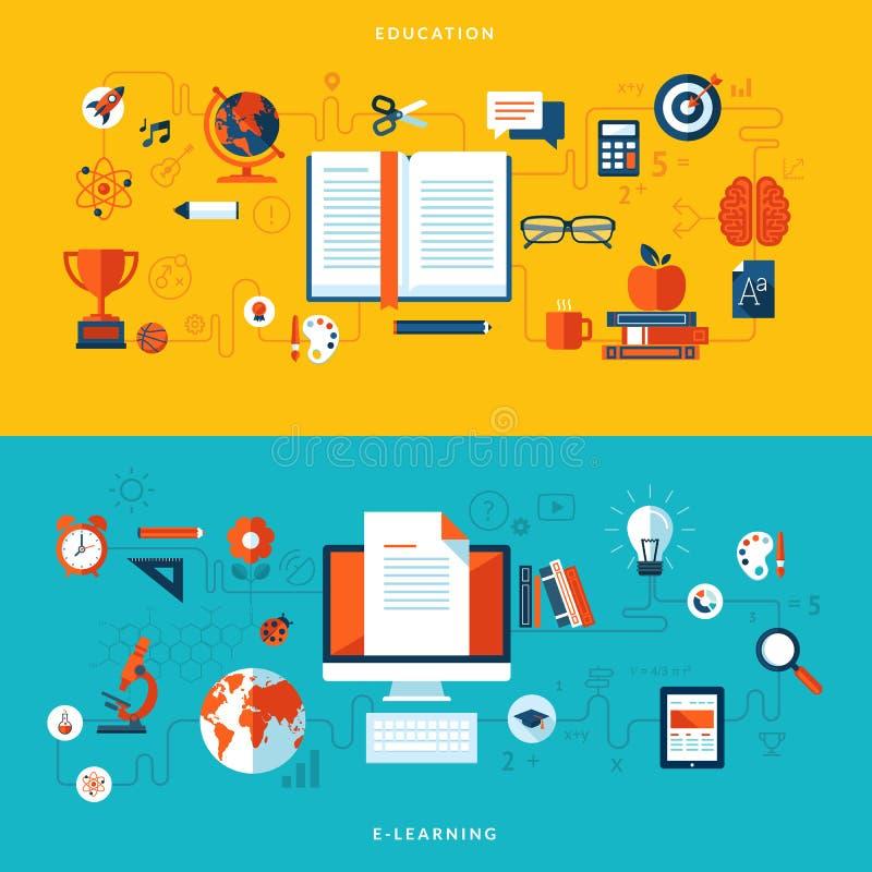 Conceptos planos del ejemplo del diseño de educación y en línea de aprendizaje libre illustration