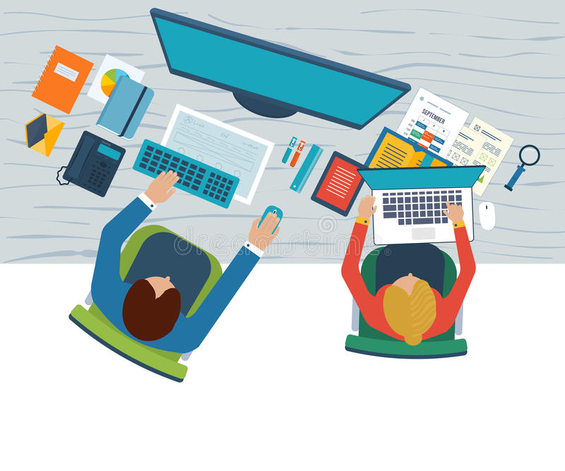 Conceptos planos del ejemplo del diseño para el análisis de negocio en la reunión, el trabajo del equipo, el informe financiero,  libre illustration