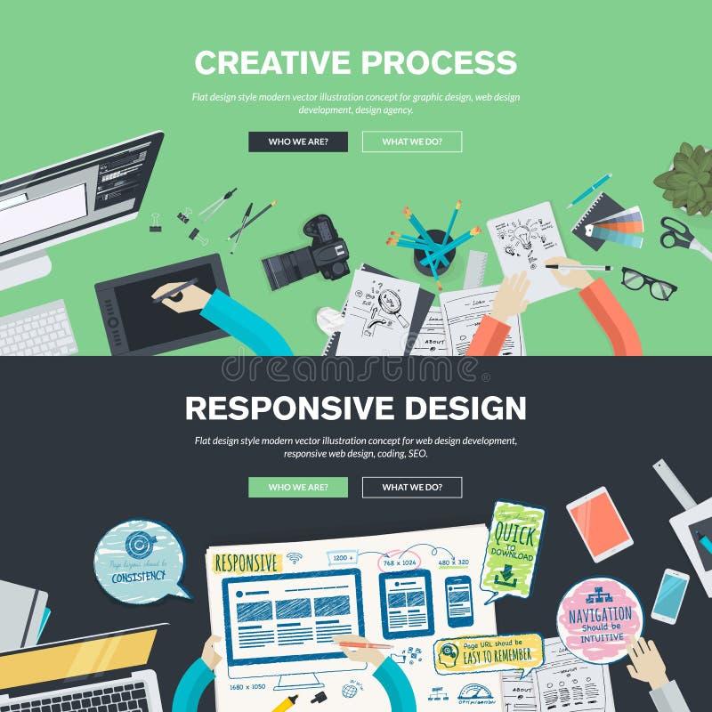 Conceptos planos del ejemplo del diseño para el gráfico y el diseño web stock de ilustración