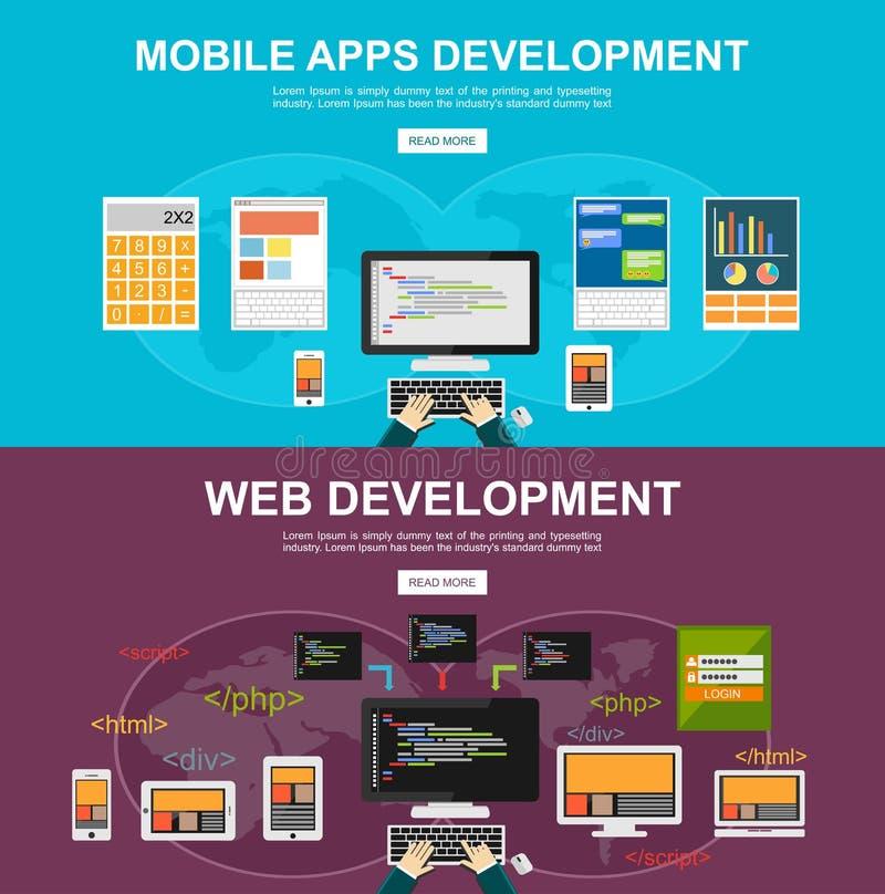 Conceptos planos del ejemplo del diseño para los apps móviles desarrollo, desarrollo web, programando, programador, desarrollador libre illustration