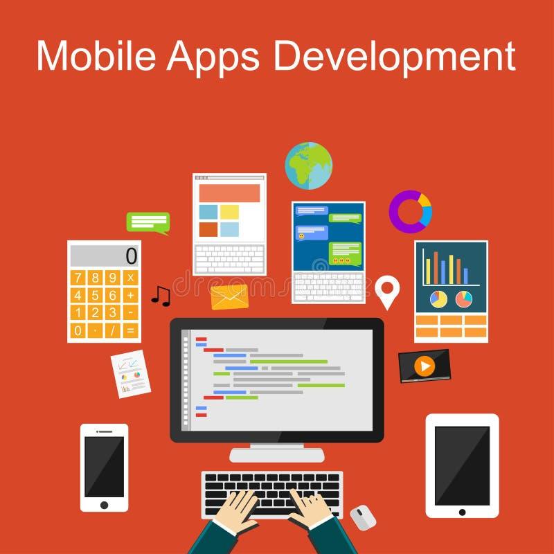 Conceptos planos del ejemplo del diseño para los apps móviles desarrollo o programación ilustración del vector