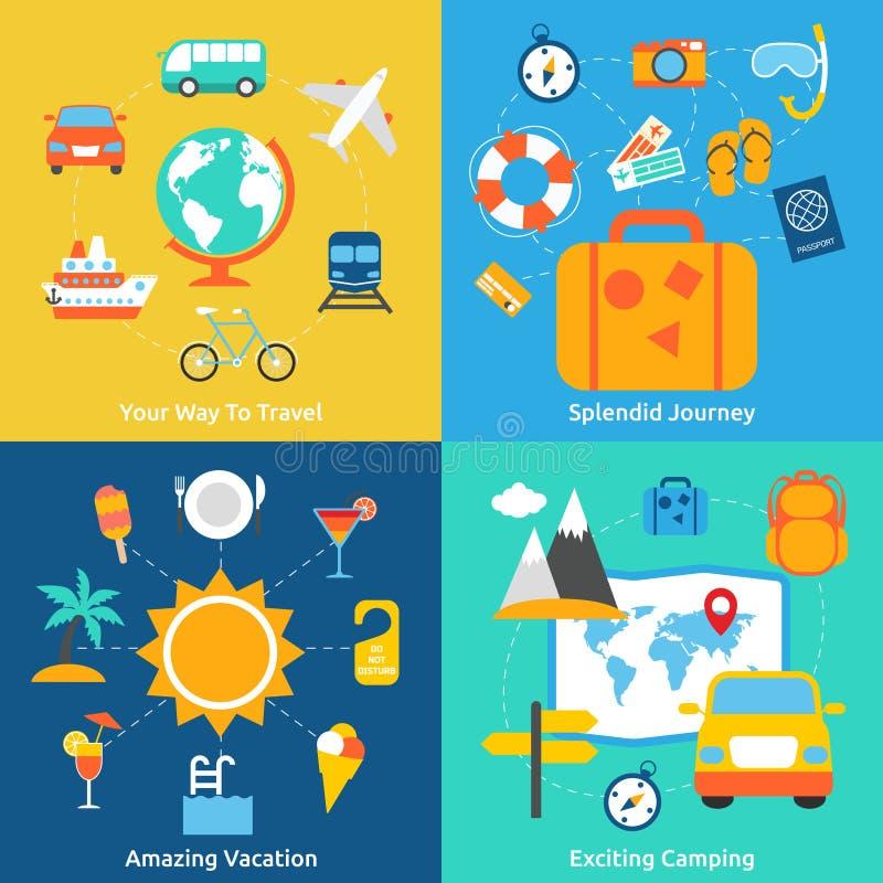 Conceptos planos del viaje libre illustration