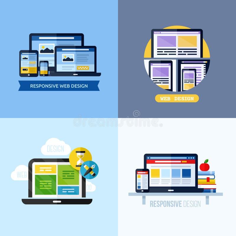 Conceptos planos modernos del vector de diseño web responsivo libre illustration