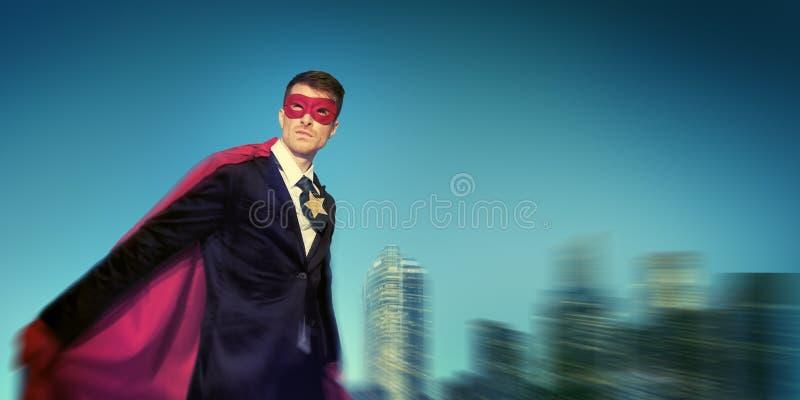 Conceptos potentes fuertes del paisaje urbano del super héroe del negocio imagen de archivo libre de regalías