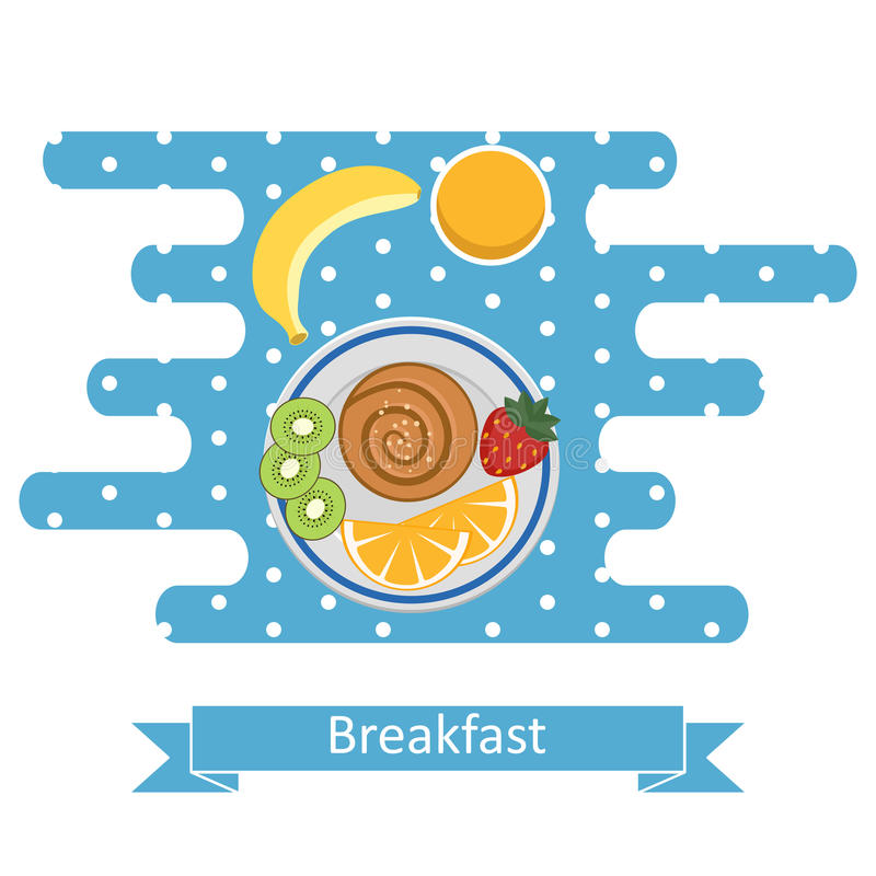 Concepts for breakfast time. stock illustration