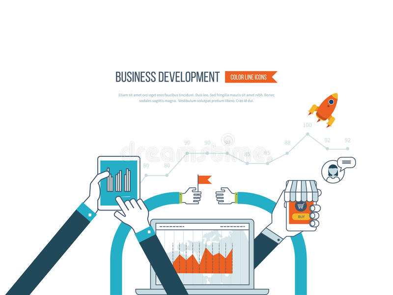 Concepts for business development, teamwork, financial report and strategy. Flat design illustration concepts for business development and planning, teamwork royalty free illustration