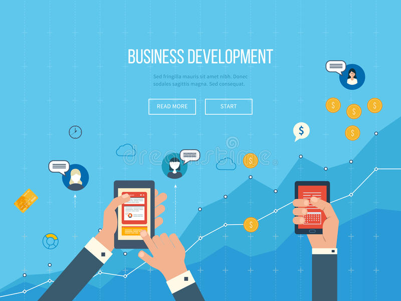 Concepts for business development, teamwork, financial report and strategy. Flat design illustration concepts for business development and planning, teamwork stock illustration