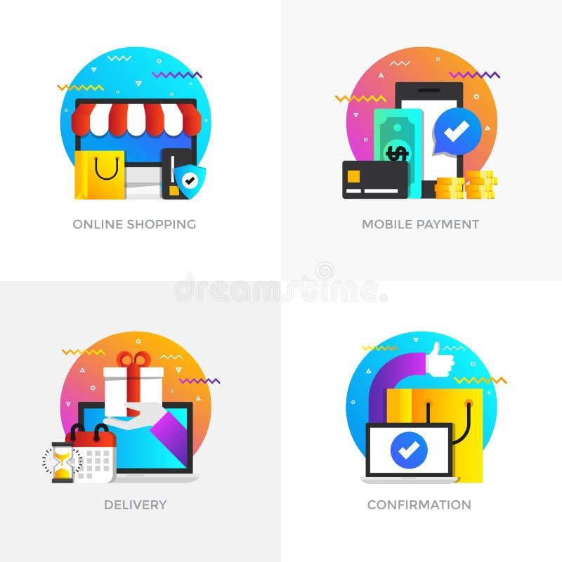 Concepts construction plats - 5 colorés illustration stock