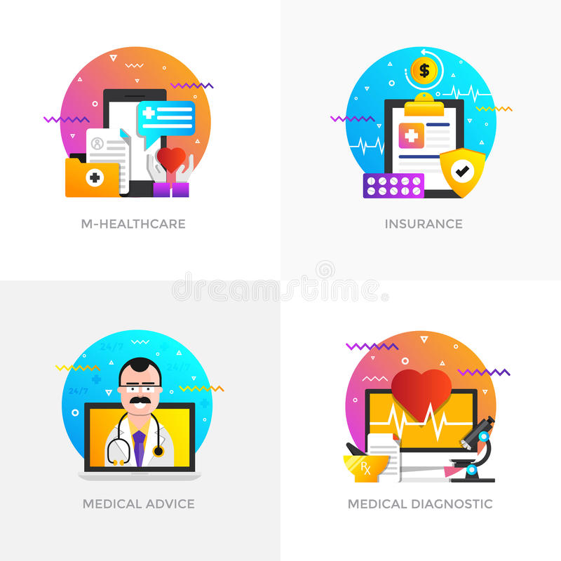 Concepts construction plats - M-soins de santé, assurance, avis médical illustration libre de droits