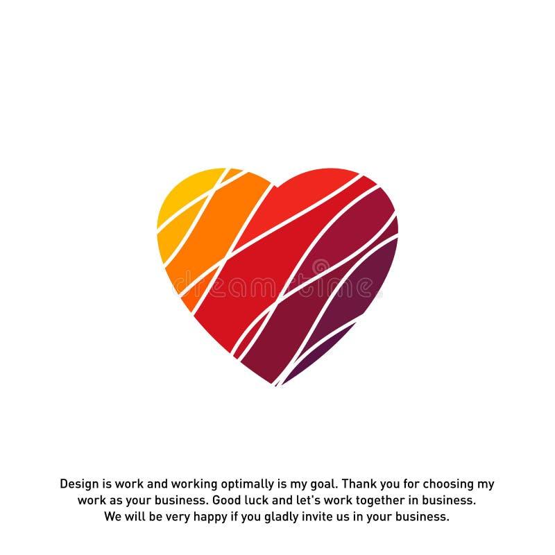 Concepts créatifs de logo de coeur d'amour, icônes colorées abstraites, éléments et symboles, calibre - vecteur illustration de vecteur