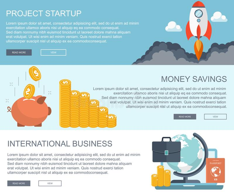 Concepts d'affaires et de finances Projetez commencent, l'épargne d'argent et les bannières internationales d'affaires Vecteur pl illustration de vecteur