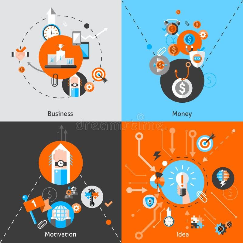 Concepts d'affaires réglés illustration de vecteur