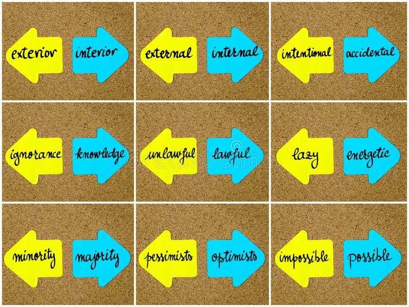 Concepts d'antonyme écrits sur les flèches opposées illustration stock