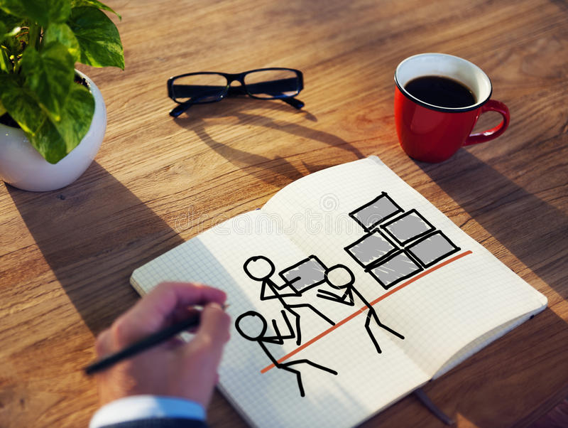 Concepts de Brainstorming About Teamwork d'homme d'affaires image stock